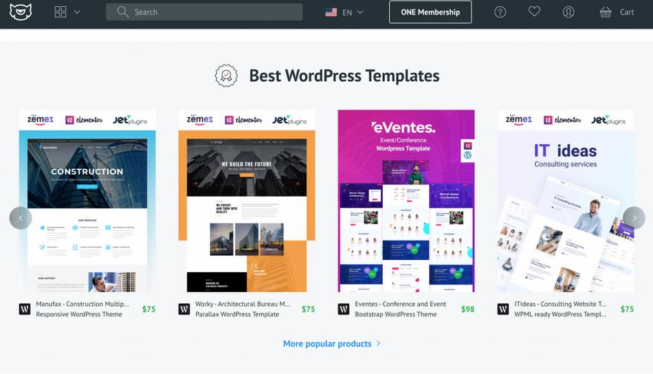 Template Monster sebagai inspirasi contoh desain web
