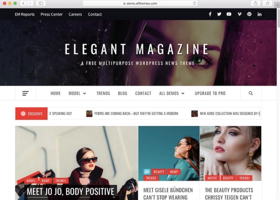 tampilan template elegant magazine