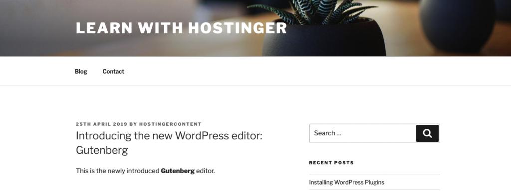 hasil edit html dengan gutenberg