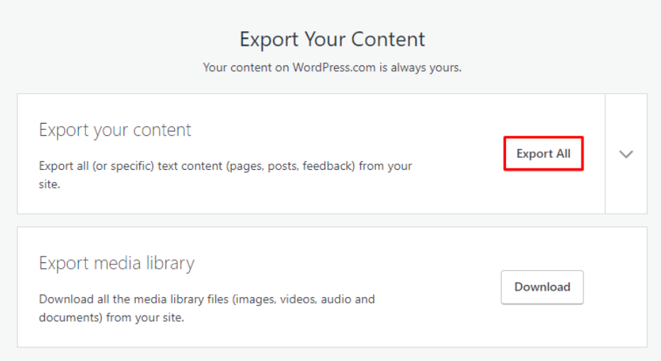 proses ekspor file untuk migrasi wordspress