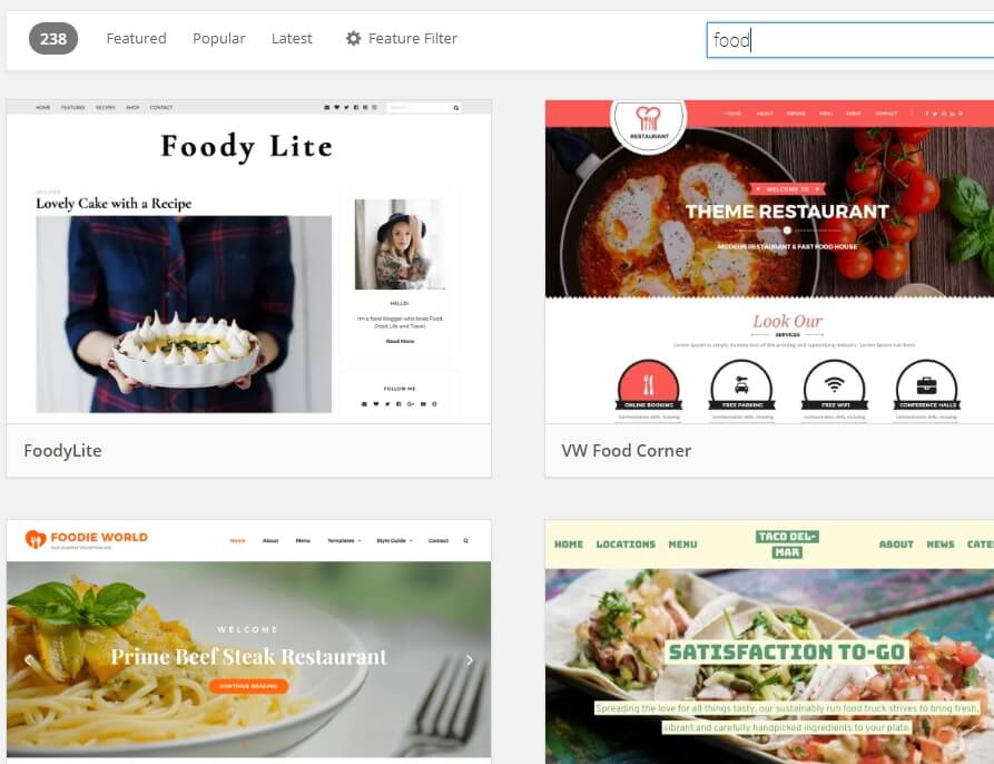 tema untuk blog makanan