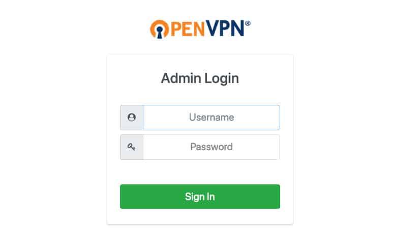 halaman login openvpn