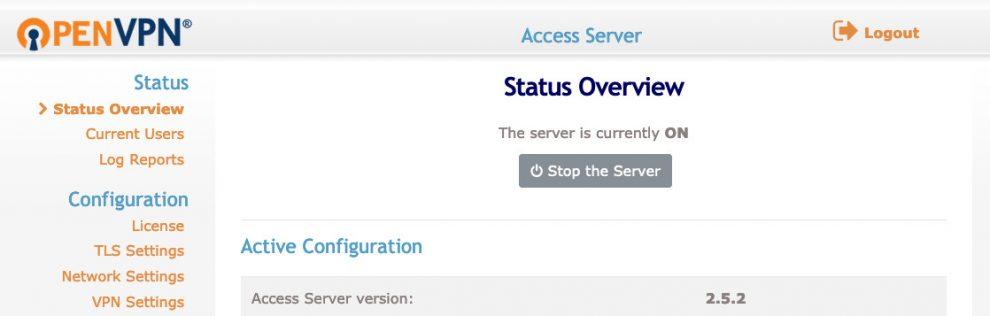 main dashboard OpenVPN