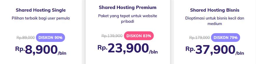 daftar harga paket shared hosting untuk blog makanan