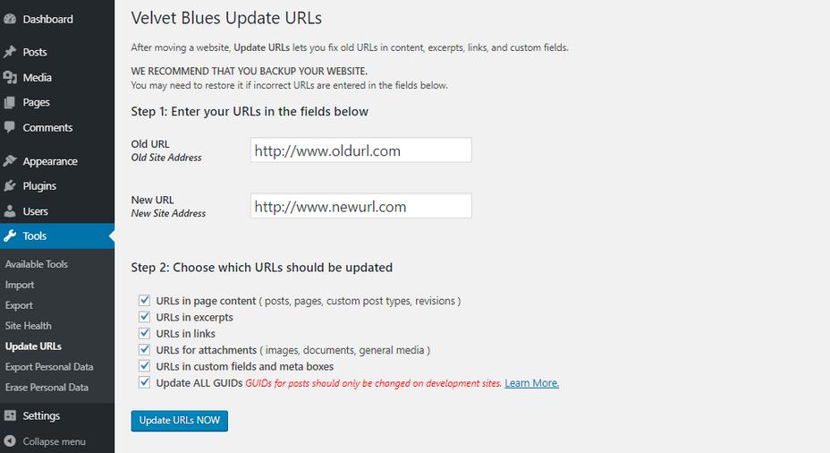 tool update URL dan centang boksnya