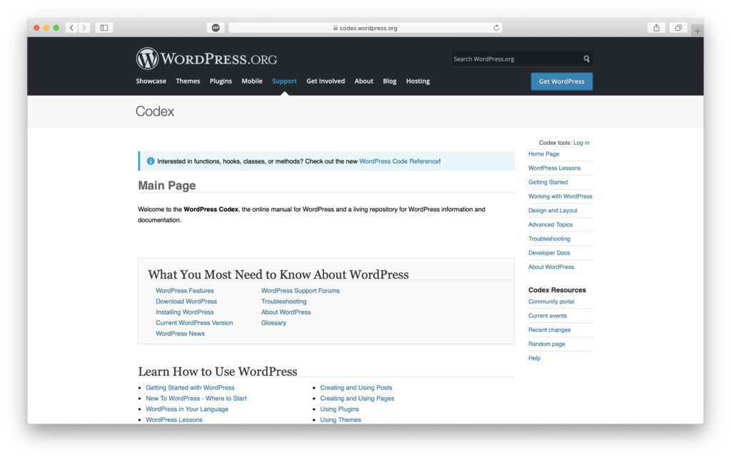 wordpress codex unutk belajar wordpress