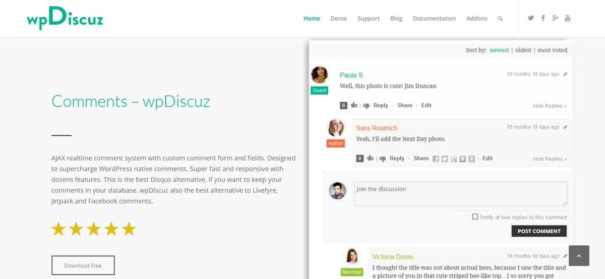 Plugin komentar di WordPress, wpDiscuz