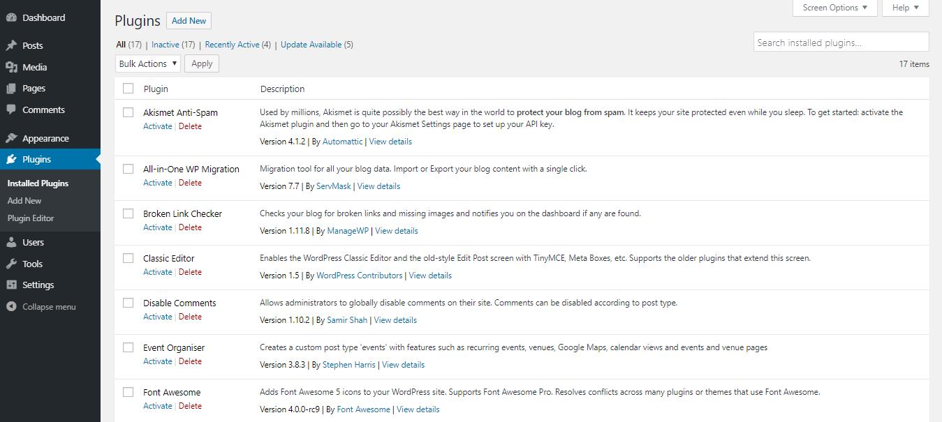 Mengaktifkan plugin dari dashboard WordPress