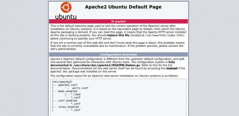Layar Apache di browser