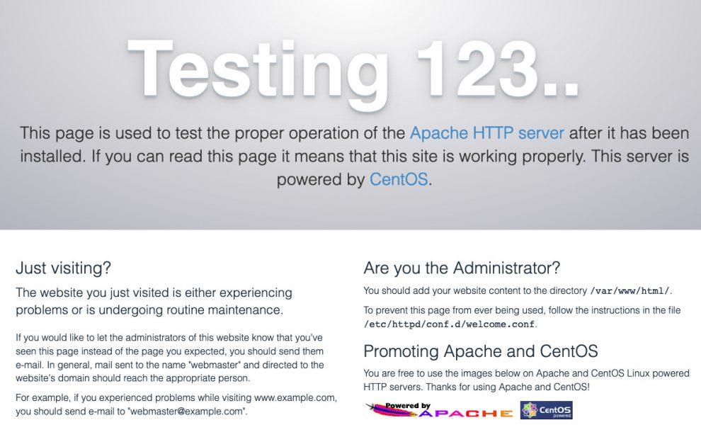 Apache testing splash screen