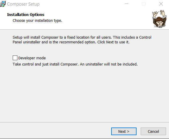 Cara install Composer - Composer Installation Wizard