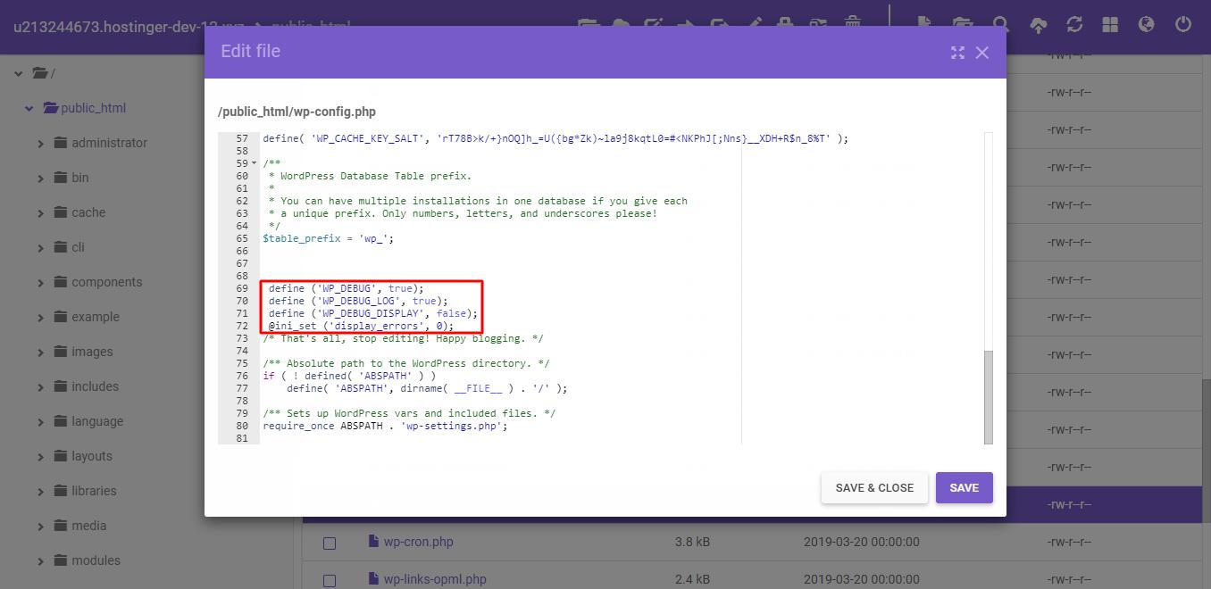 Cara mengatasi error 503 service unavailable dengan mengaktifkan WP_DEBUG