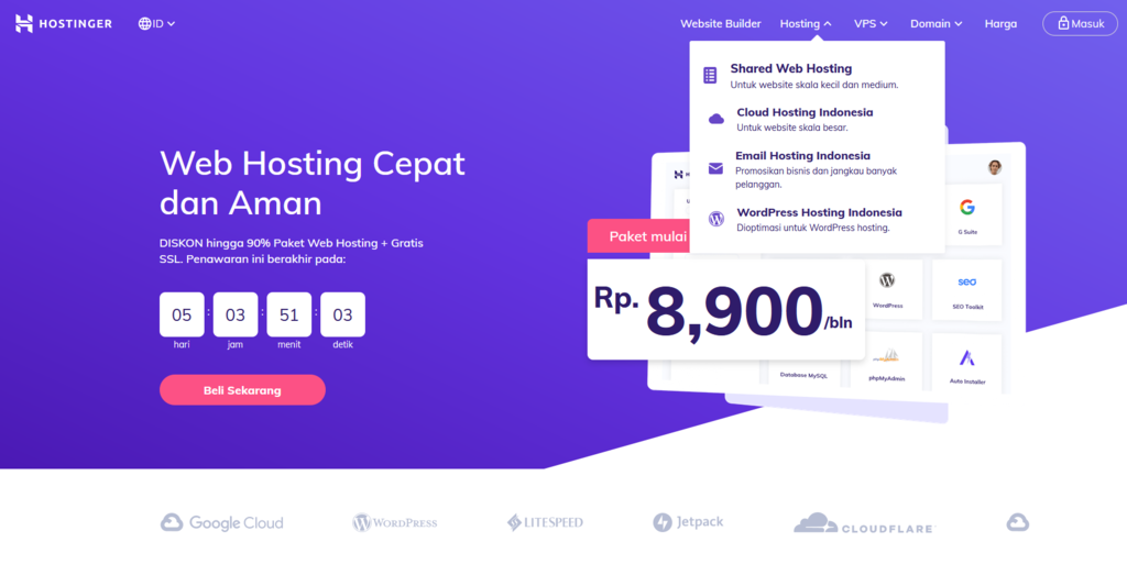 pilih paket shared hosting