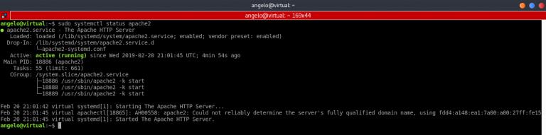 Install Laravel di Ubuntu - Cek status Apache