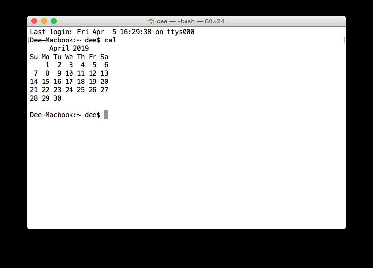 Apa itu CLI - menampilkan kalender di terminal