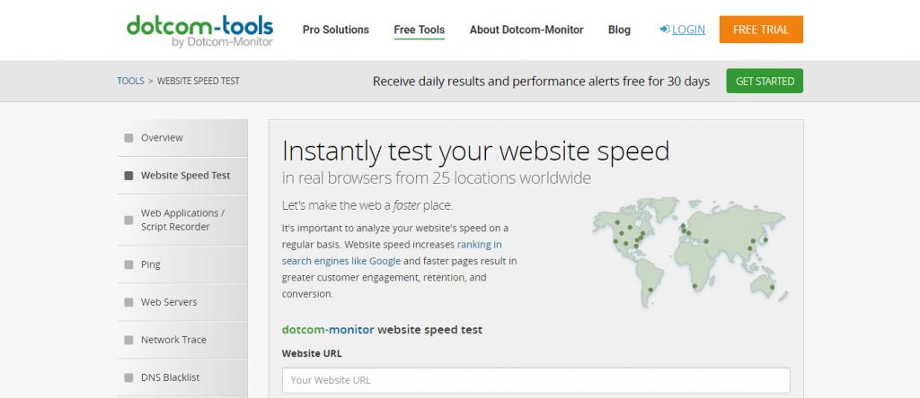 Dotcom-Monitor untuk cara cek kecepatan loading website