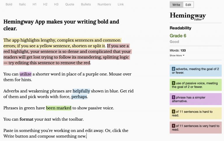 Aplikasi cek grammar - Hemingway