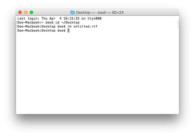 Menghapus file di terminal macos