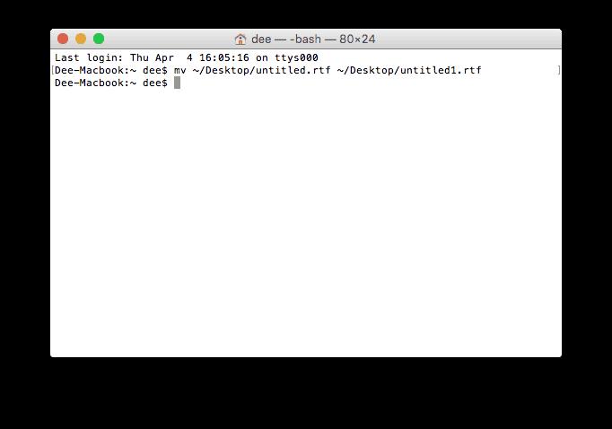 Mengganti nama file dengan terminal macos