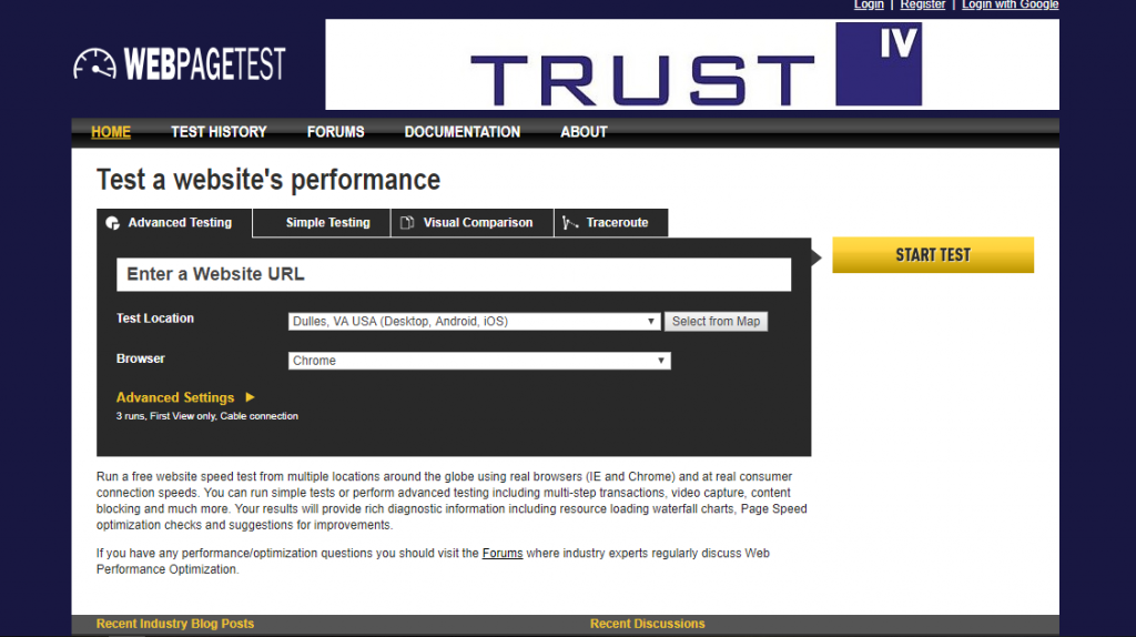 WebPageTest, tool cek kecepatan website