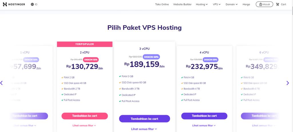 Shared hosting vs VPS hosting - harga VPS hosting di Hostinger
