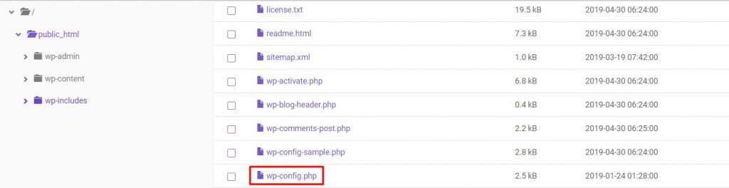File PHP wp config