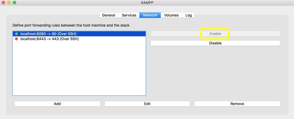 Tab jaringan XAMPP