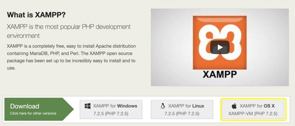 Tombol unduh XAMPP di Mac