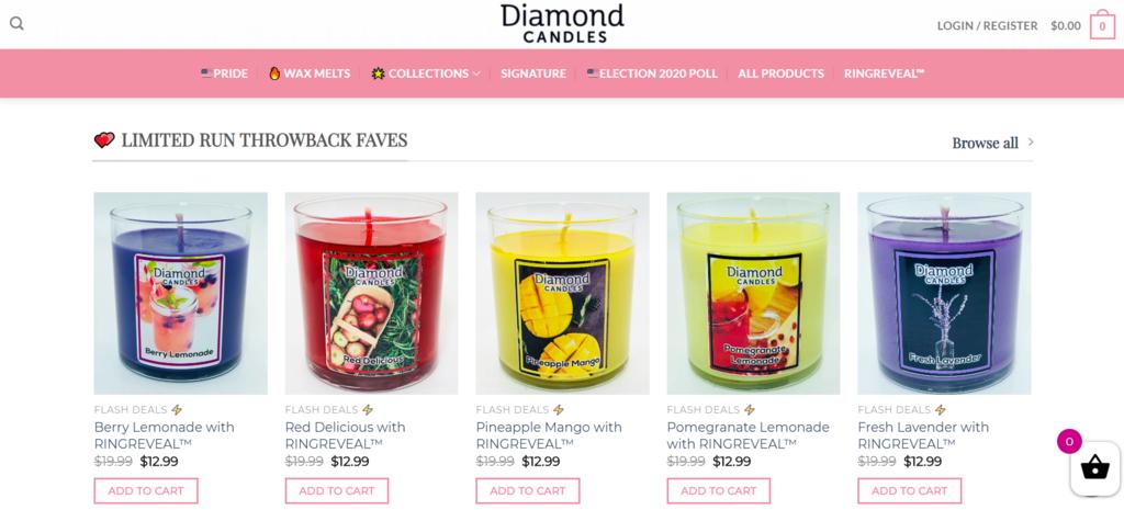 Diamond Candles sebagai contoh apa itu e-commerce