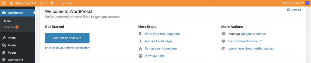 Banner kuning di staging WordPress