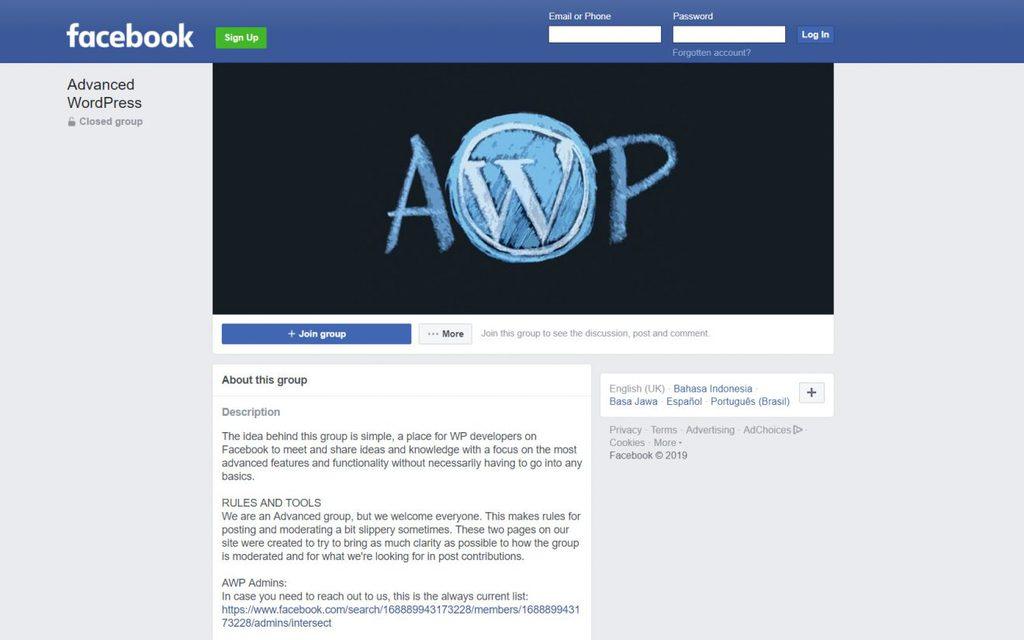 Grup AWP sebagai cara mendapatkan bantuan WordPress