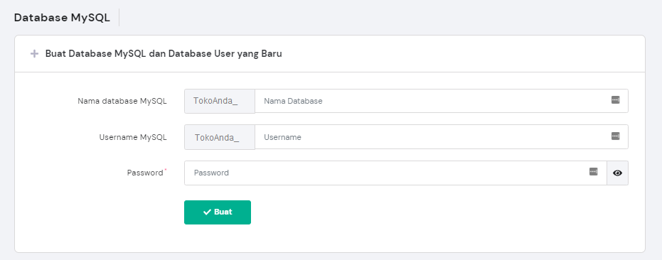 Membuat database MySQL baru