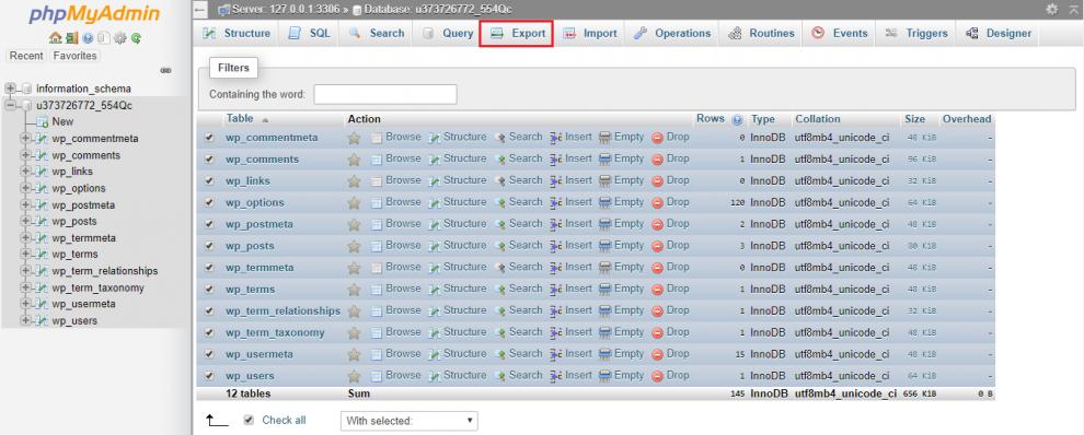 Cara Backup WordPress melalui phpMyAdmin