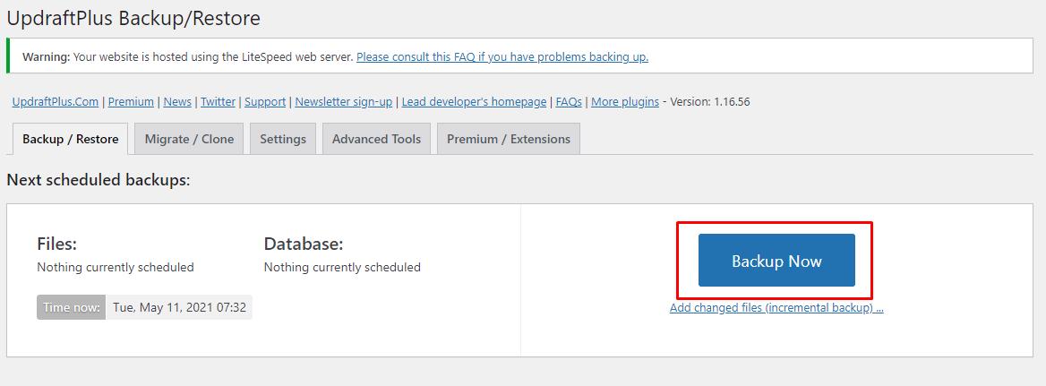 Cara backup WordPress dengan plugin UpdraftPlus