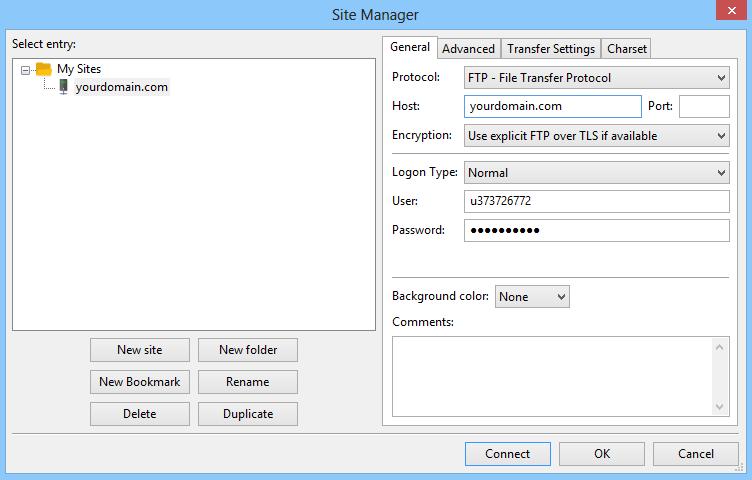 Mengonfigurasi Filezilla dengan akses FTP Hostinger