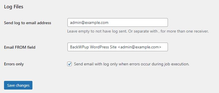 Menuliskan email untuk backup